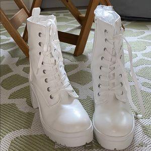 Brand new dolls kill white tie up booties 🤍